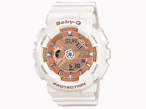 カシオ CASIO ベビーG BABY-G 逆輸入 アナデジ レディース 腕時計 BA-110-7A1 ホワイト ラバーベルト-1