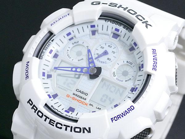 カシオ CASIO Gショック G-SHOCK アナデジ 腕時計 GA-100A-7A メンズ ホワイト×パープル ラバーベルト-1