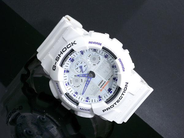 カシオ CASIO Gショック G-SHOCK アナデジ 腕時計 GA-100A-7A メンズ ホワイト×パープル ラバーベルト-2