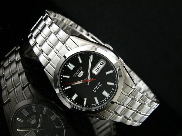 SEIKO 5 セイコー5 逆輸入 日本製 自動巻き メンズ 腕時計 SNKE87J1 メンズ ブラック×シルバー メタルベルト-2