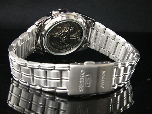SEIKO 5 セイコー5 逆輸入 日本製 自動巻き メンズ 腕時計 SNKE87J1 メンズ ブラック×シルバー メタルベルト-3