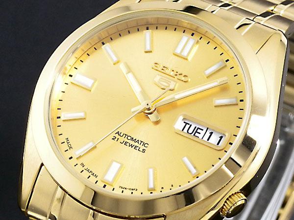 SEIKO 5 セイコー5 逆輸入 日本製 自動巻き メンズ 腕時計 SNKE92J1 ゴールド メタルベルト-1