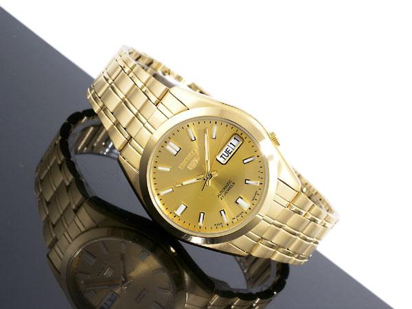 SEIKO 5 セイコー5 逆輸入 日本製 自動巻き メンズ 腕時計 SNKE92J1 ゴールド メタルベルト-2