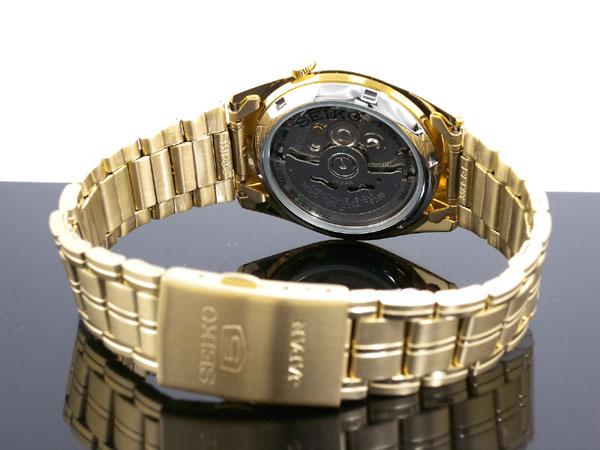 SEIKO 5 セイコー5 逆輸入 日本製 自動巻き メンズ 腕時計 SNKE92J1 ゴールド メタルベルト-3