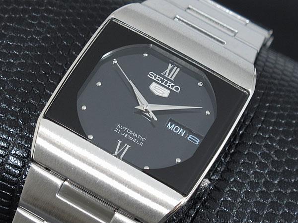 SEIKO 5 セイコー5 逆輸入 ドレス DRESS 日本製 自動巻き メンズ 腕時計 SNY011J1 ブラック×シルバー メタルベルト-1