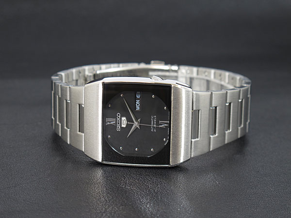 SEIKO 5 セイコー5 逆輸入 ドレス DRESS 日本製 自動巻き メンズ 腕時計 SNY011J1 ブラック×シルバー メタルベルト-2