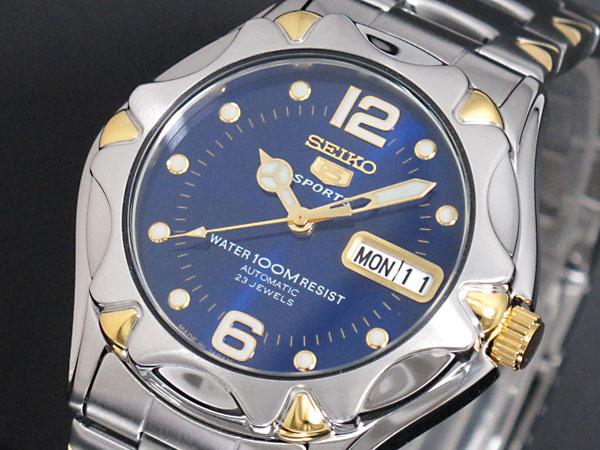 セイコー SEIKO 5 SPORTS 逆輸入 日本製 自動巻き メンズ 腕時計 SNZ458J1 ブルー×シルバー メタルベルト-1