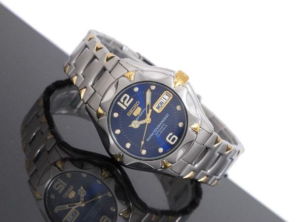 セイコー SEIKO 5 SPORTS 逆輸入 日本製 自動巻き メンズ 腕時計 SNZ458J1 ブルー×シルバー メタルベルト-2