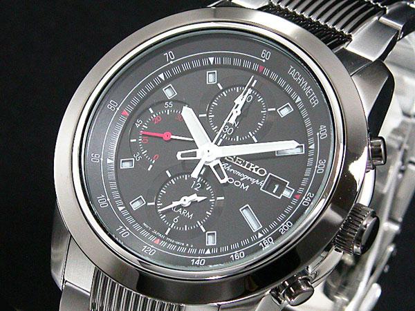 セイコー SEIKO 逆輸入 クロノグラフ アラーム メンズ 腕時計 SNAB19P1 ブラック×シルバー メタルベルト-1