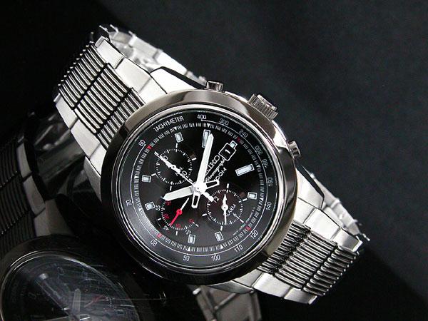 セイコー SEIKO 逆輸入 クロノグラフ アラーム メンズ 腕時計 SNAB19P1 ブラック×シルバー メタルベルト-2