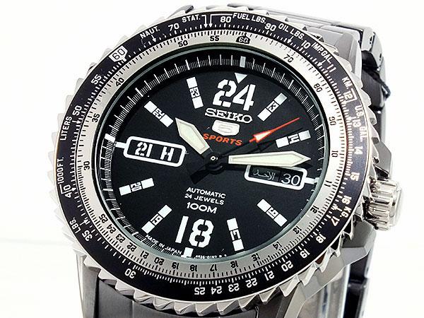 SEIKO 5 SPORTS スポーツ 逆輸入 自動巻き 日本製 メンズ 腕時計 SRP355J1 ブラック メタルベルト-1