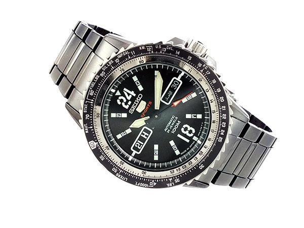 SEIKO 5 SPORTS スポーツ 逆輸入 自動巻き 日本製 メンズ 腕時計 SRP355J1 ブラック メタルベルト-2