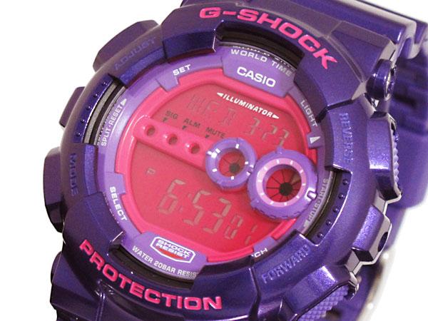 カシオ CASIO Gショック G-SHOCK 逆輸入 高輝度LED メンズ デジタル 腕時計 GD-100SC-6 パープル×ピンク-1
