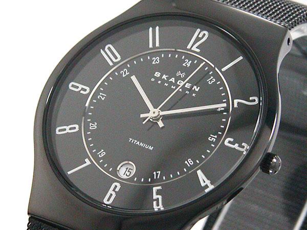 スカーゲン SKAGEN 腕時計 ウルトラスリム チタン 233XLTMB メンズ ブラック メッシュベルト-1
