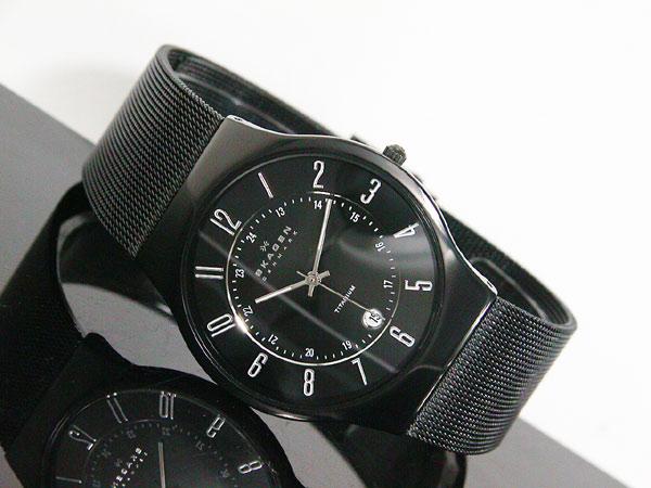スカーゲン SKAGEN 腕時計 ウルトラスリム チタン 233XLTMB メンズ ブラック メッシュベルト-2