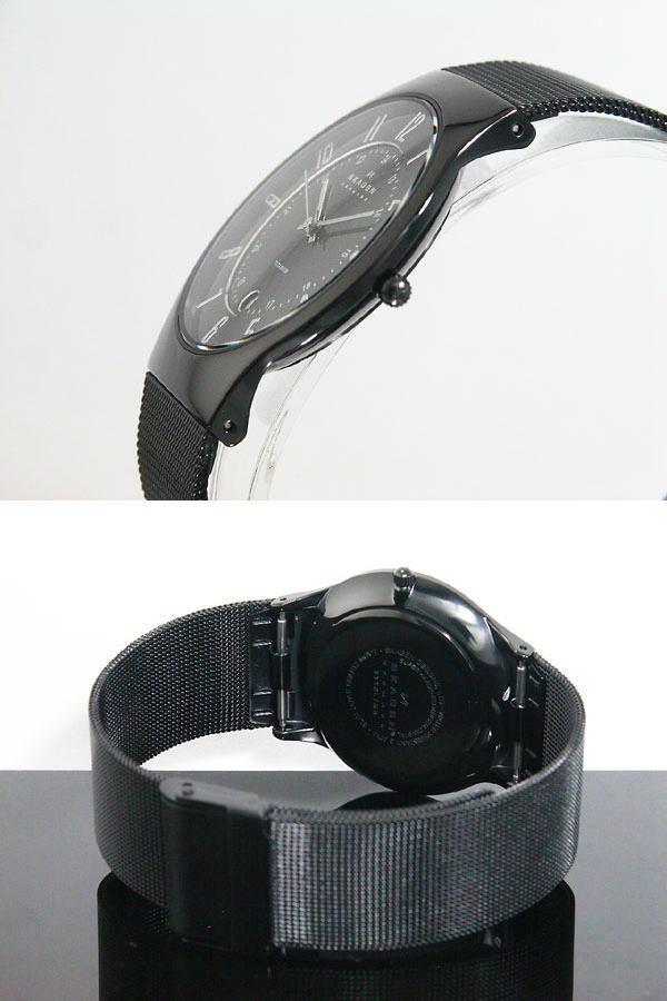 スカーゲン SKAGEN 腕時計 ウルトラスリム チタン 233XLTMB メンズ ブラック メッシュベルト-3