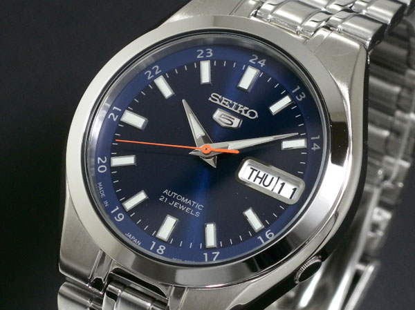SEIKO 5 セイコー5 逆輸入 日本製 自動巻き メンズ 腕時計 SNKG21J1 ブルー×シルバー メタルベルト-1