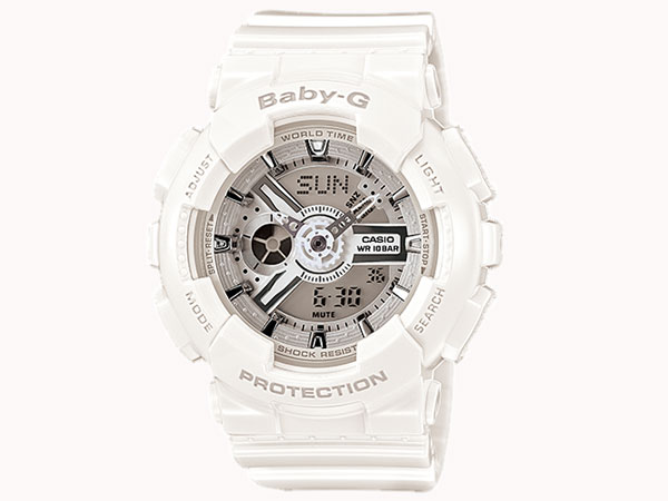 カシオ CASIO ベビーG BABY-G 逆輸入 アナデジ レディース 腕時計 BA-110-7A3 ホワイト ラバーベルト-1