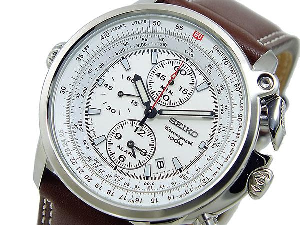 セイコー SEIKO パイロット 逆輸入 クロノグラフ アラーム メンズ 腕時計 SNAB71P1 メンズ ホワイト×ブラウン-1