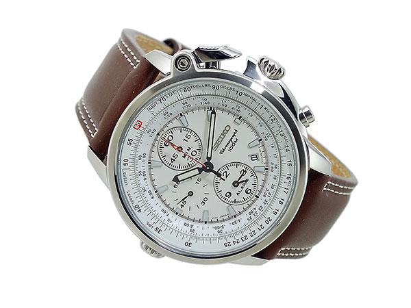 セイコー SEIKO パイロット 逆輸入 クロノグラフ アラーム メンズ 腕時計 SNAB71P1 メンズ ホワイト×ブラウン-2