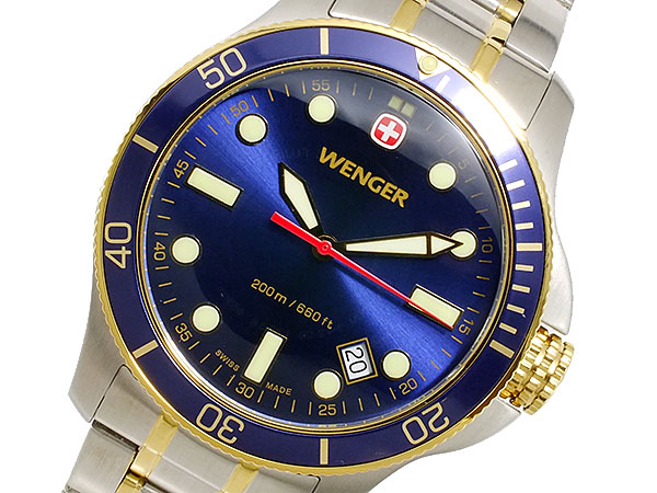 ウェンガー WENGER バタリオン ダイバーズ メンズ スイス製 腕時計 72346 ネイビーブルー×ゴールド×シルバー メタルベルト-1