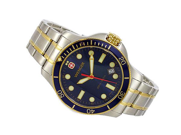 ウェンガー WENGER バタリオン ダイバーズ メンズ スイス製 腕時計 72346 ネイビーブルー×ゴールド×シルバー メタルベルト-2
