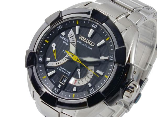セイコー SEIKO ベラチュラ 逆輸入 キネティック メンズ 腕時計 SRH015P1 ブラック×シルバー メタルベルト-1