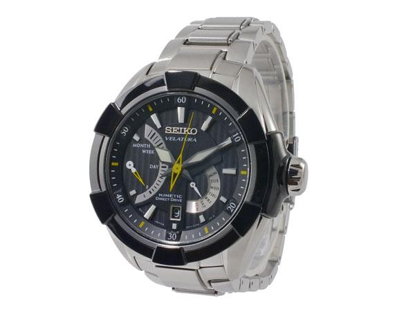 セイコー SEIKO ベラチュラ 逆輸入 キネティック メンズ 腕時計 SRH015P1 ブラック×シルバー メタルベルト-2