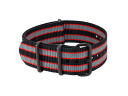 Watch WATCH nylon substitute belt 037-BKRDGY-PV22 (59018) black X red X gray