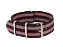 Watch WATCH nylon substitute belt 037-BKRDGY-SS22 (59020) black X red X gray