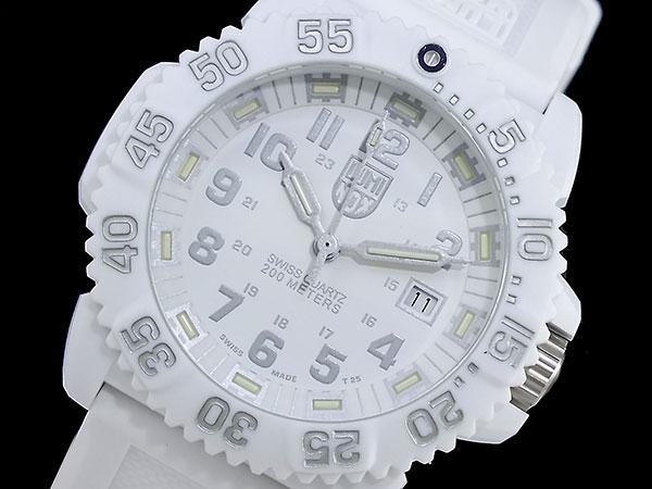 ルミノックス LUMINOX ネイビーシールズ カラーマーク メンズ スイス製 腕時計 3057 ホワイトアウト ラバーベルト-1
