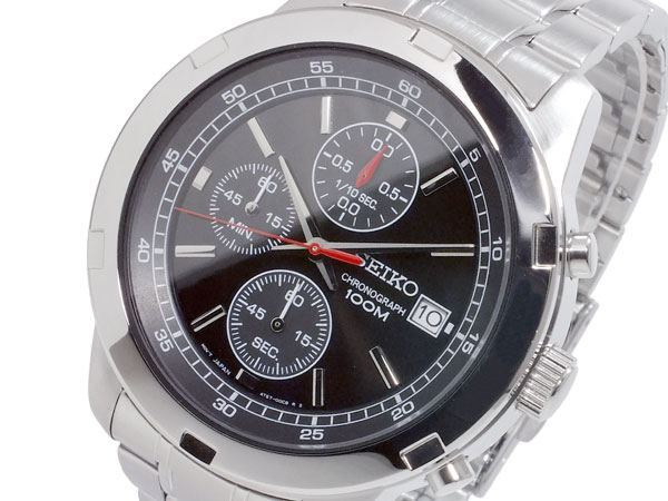 セイコー SEIKO 逆輸入 クロノグラフ メンズ 腕時計 SKS421P ブラック×シルバー メタルベルト-1
