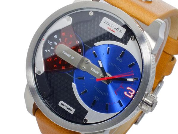 ディーゼル DIESEL デュアルタイム ブラウンレザーベルト 腕時計 メンズ DZ7308 ブルー-1
