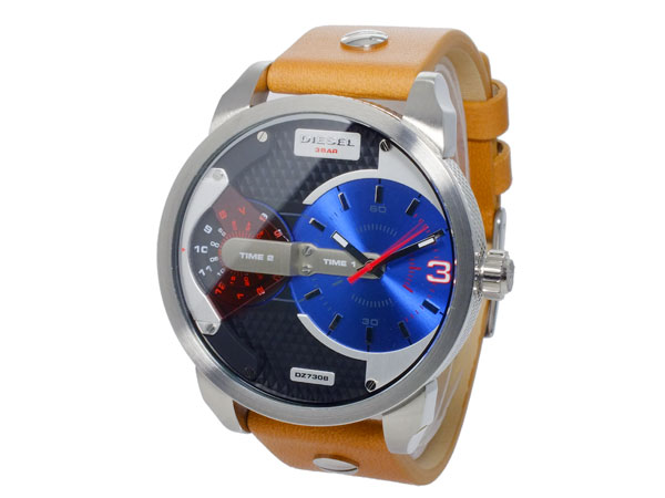 ディーゼル DIESEL デュアルタイム ブラウンレザーベルト 腕時計 メンズ DZ7308 ブルー-2