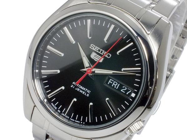 SEIKO 5 セイコー5 逆輸入 日本製 自動巻き メンズ 腕時計 SNKL45J1 ブラック×シルバー メタルベルト-1