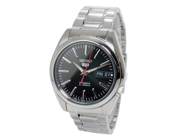 SEIKO 5 セイコー5 逆輸入 日本製 自動巻き メンズ 腕時計 SNKL45J1 ブラック×シルバー メタルベルト-2