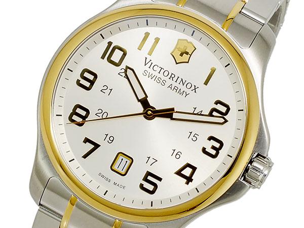 ビクトリノックス VICTORINOX スイス製 クオーツ メンズ 腕時計 241362 ホワイト ゴールド×シルバー メタルベルト-1