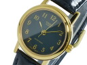 Casio CASIO watch overseas models ladies LTP-1095Q-1B gold x black leather belt
