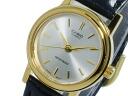 Casio CASIO watch overseas models ladies LTP-1095Q-7A gold / silver black leather belt