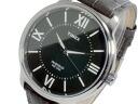 Timex TIMEX quartz men's watch T2N693 black / dark grey leather belt