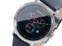 Bering BERING chronograph quartz men's watch 10540-402 black x silver leather belt