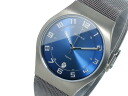 Bering BERING titanium quartz mens watch Hampton 11937-078 blue x gray mesh belt metal belt