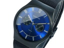 Bering BERING titanium quartz day-date mens watch 11939 I-- 078 blue x Black mesh belt metal belt