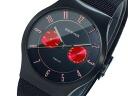 Bering BERING titanium quartz day-date mens watch 11939 I-- 229 Red × Black mesh belt metal belt