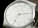 Skagen in SKAGEN watch ultra-slim quartz 233 XXLSL mens silver × white leather belt