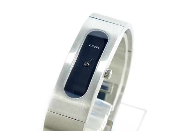 GUCCI グッチ スイス製 クオーツ 腕時計 レディース 2405SR-BK ブラック×シルバー ブレスレット メタルベルト-1