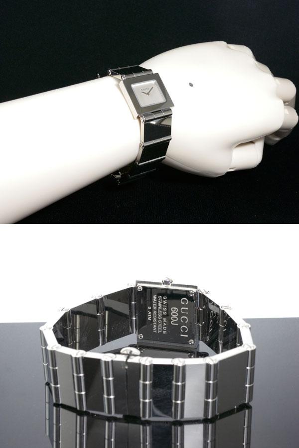 GUCCI グッチ スイス製 クオーツ 腕時計 レディース 600J-SV シルバー ブレスレット メタルベルト-3