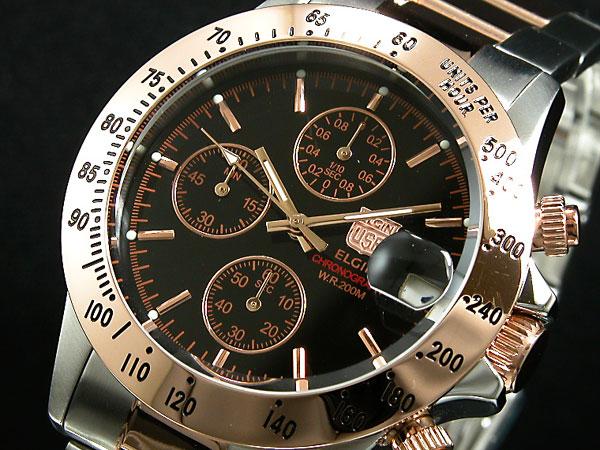 エルジン ELGIN 腕時計 クロノグラフ メンズ FK1184PG-B-1