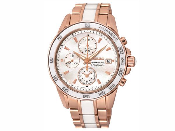 セイコー SEIKO スポーチュラ 逆輸入 セラミック クロノグラフ レディース 腕時計 SNDW98 ローズゴールド-1
