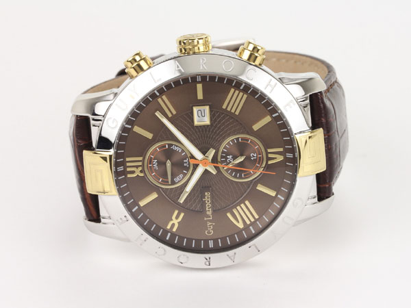 Guy Laroche ギラロッシュ マルチファンクション メンズ 腕時計 G3006-02 ブラウン×ゴールド レザーベルト-2